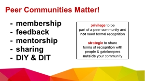 Peer communities matter: How can we be strategic and aware of our privilege?